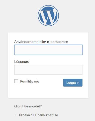 Wordpress inlogg