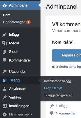 Installera WordPress tillägg